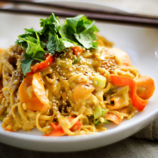 Peanut Coconut Noodles with Thai Red Curry