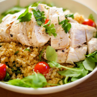 Chicken with Bulgur, Lemon, Herbs and Tomatoes