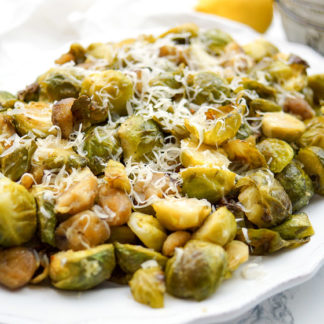 Roasted Chestnuts and Brussels Sprouts with Lemon