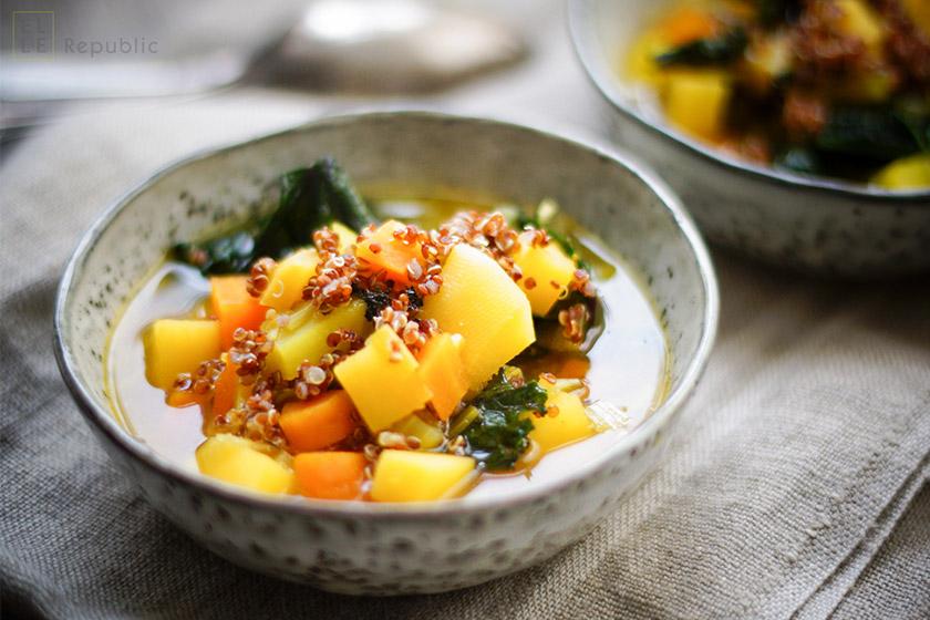 Steckrübeneintopf mit Quinoa und Safran, Grünkohl, vegetarisch, Diät, Abnehmen, saisonal, regional