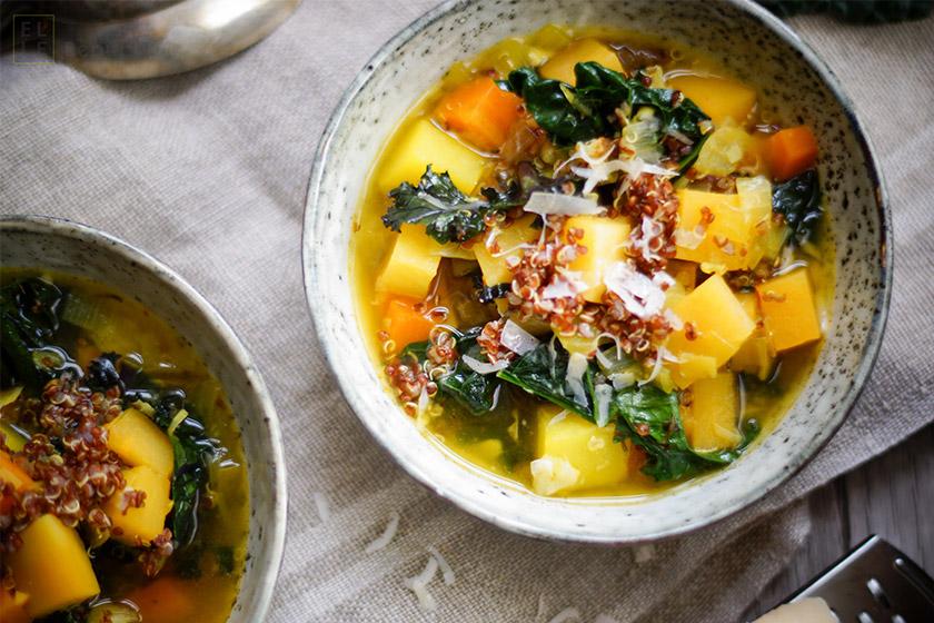 Steckrübeneintopf mit Quinoa und Safran, Grünkohl, vegan, glutenfrei,vegetarisch, Diät, Abnehmen, saisonal, regional