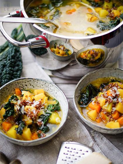 Steckrübeneintopf mit Quinoa und Safran, Grünkohl, glutenfrei, vegan, vegetarisch, Diät, Abnehmen, saisonal, regional