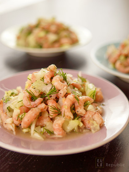 Büsumer Krabbensalat (Original) mit Nordseekrabben, Dill, Gurke, Zitronensaft, Olivenöl