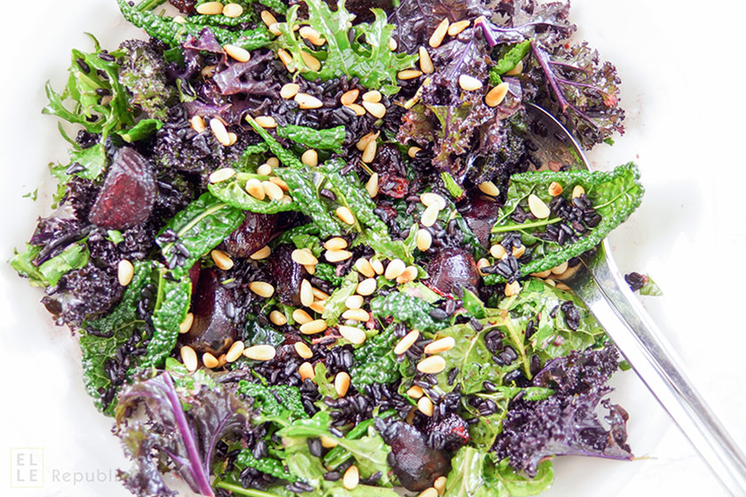 Wintery Kale Salad with Venere Black Rice and Roasted Beet Salad with Cranberries and Pine nuts in an Orange Lime Dressing
