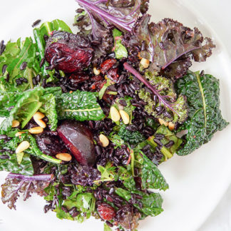 Wintery Kale Salad with Black Rice and Roasted Beets