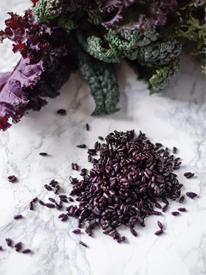 Schwarzer Reis Nero Venere mit Grünkohl