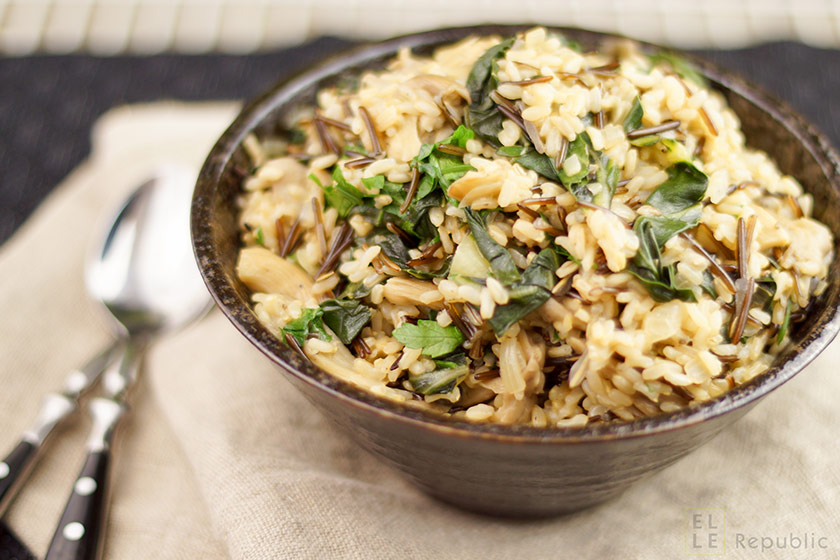 Wild Rice with Oyster Mushrooms and Swiss Chard