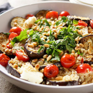 Grilled Eggplant, Tomato, Halloumi and Bulgur Salad