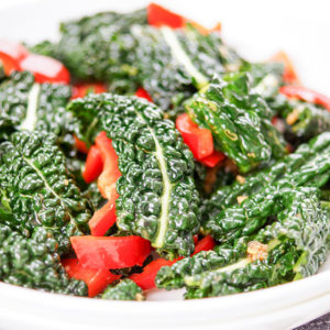 Asian Kale Salad with Pointed Red Pepper and Sesame-Ginger Dressing‏