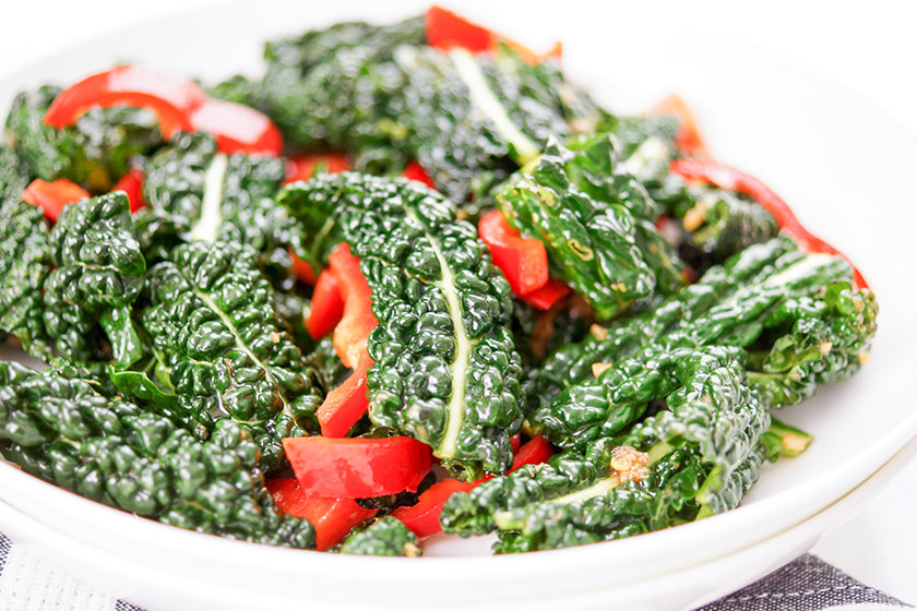 Asian Kale Salad with Pointed Red Pepper and Sesame-Ginger Dressing