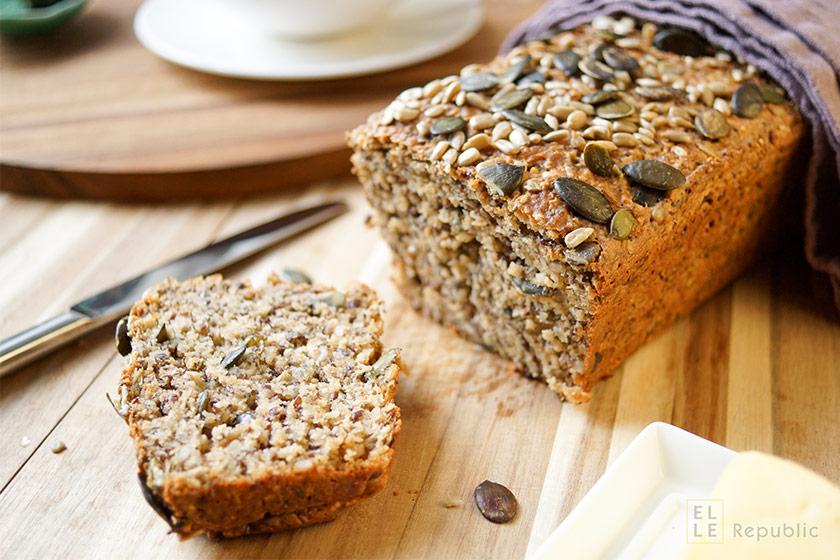Seed Loaf sunflower seeds, flax seeds, pumpkin seeds, sesame seeds, and chia seeds