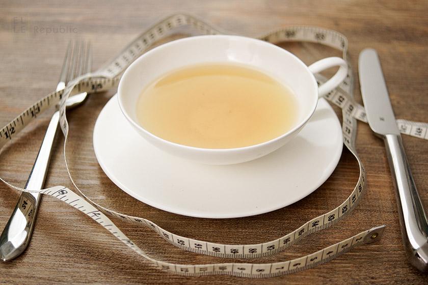 Fasten mit Tee, Teetasse mit Maßband
