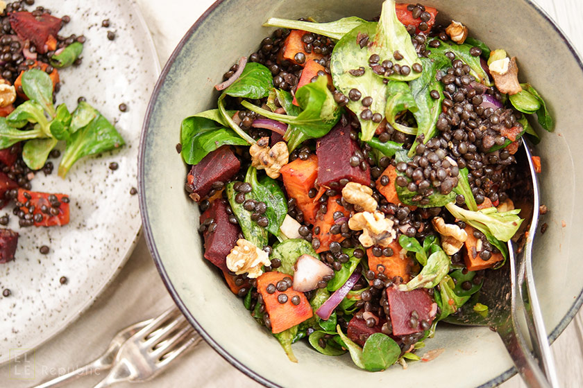 Beluga Lentil Salad with Roasted Sweet Potato and Beet