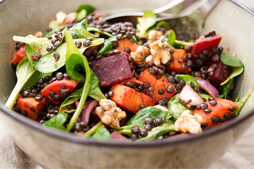 Beluga Linsensalat mit gerösteter Süßkartoffel und Rote Bete Rezept, Vegan, Vegetarisch