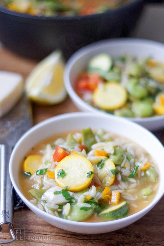 Gemüse Minestrone mit Orzo (Reisnudeln)