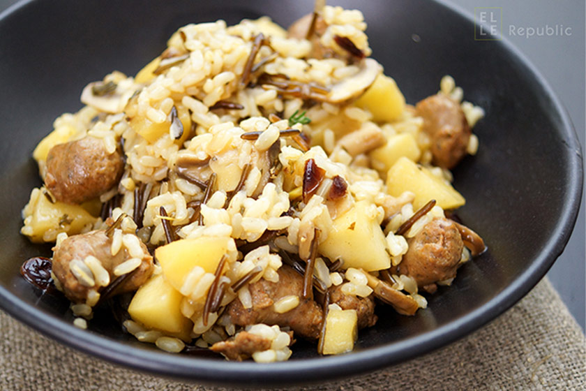 Lamm Merguez Pilaw mit Apfel und Wilder Reis