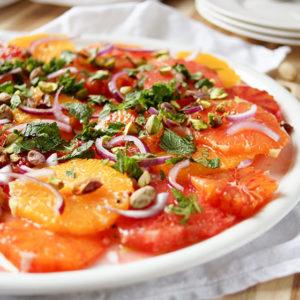 Orangensalat mit Pistazien, vegan, vegetarisch