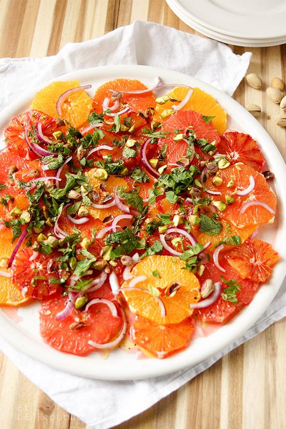 Orangensalat mit Pistazien, Grapefruit, Zitrusfrüchte, vegetarisch, vegan