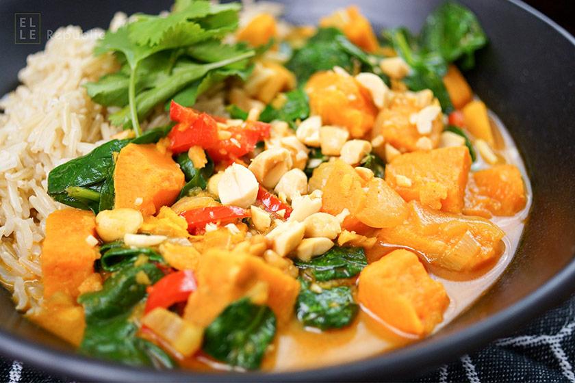 Rotes Thai Curry mit Süßkartoffeln, vegetarisch, asiatisch, thailändisch