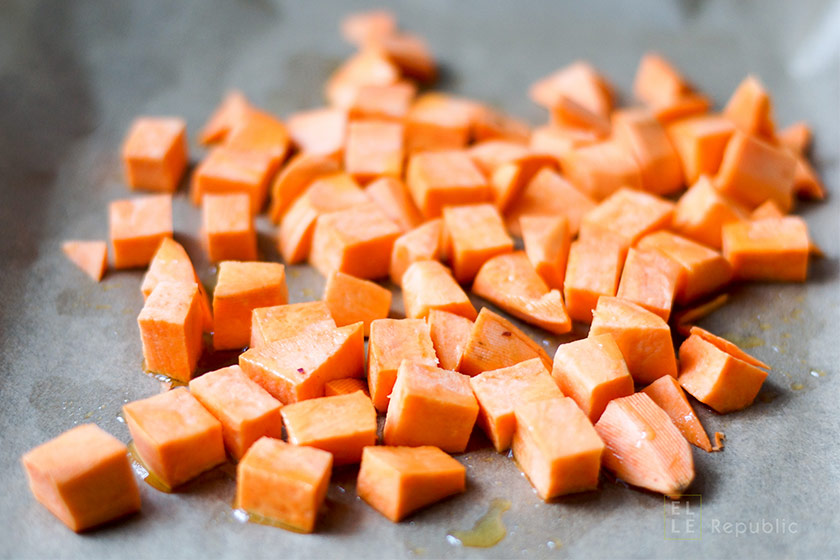 Süßkartoffeln klein geschnitten