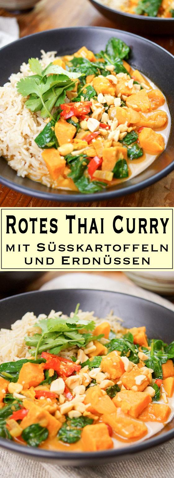 Rotes Thai Curry mit Süßkartoffeln und Erdnüssen Rezept.
