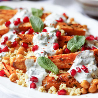 Roasted Sweet Potatoes and Chickpeas with Millet and Herbed Yogurt