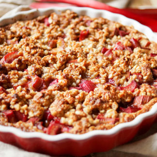 Honey Rhubarb Tart with Almond-Oat Crumble (GF)