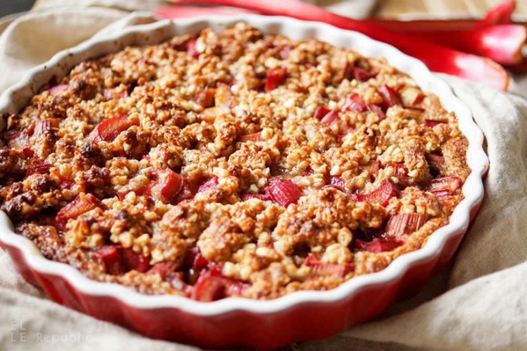 Honey Rhubarb Tart with Almond-Oat Crumble (Gluten-free)