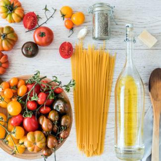 Pasta mit Tomaten für Food Blog
