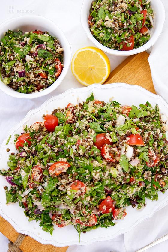 Linsen-Krauter-Salat mit Bulgur, Vegetarisch, Vegan, Tabouleh Rezept