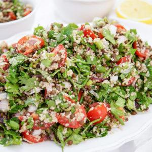 Linsen-Kräuter-Salat mit Bulgur, Vegetarisch, Vegan, Tabouleh Rezept