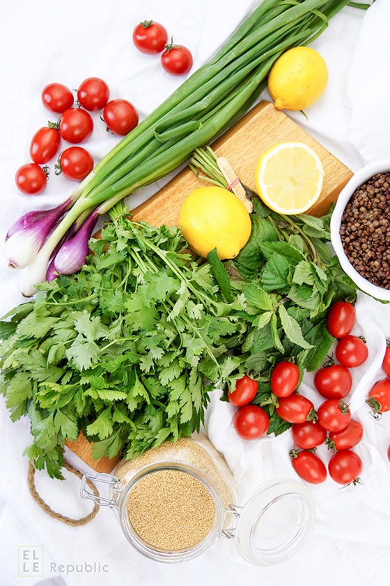 Zutaten für Linsen Krauter Salat mit Bulgur, Vegetarisch, Vegan, Tabouleh Rezept