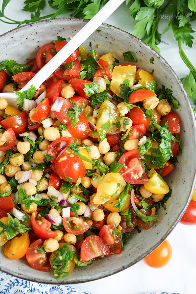 Crispy Chickpea Tomato Salad with parsley and cumin