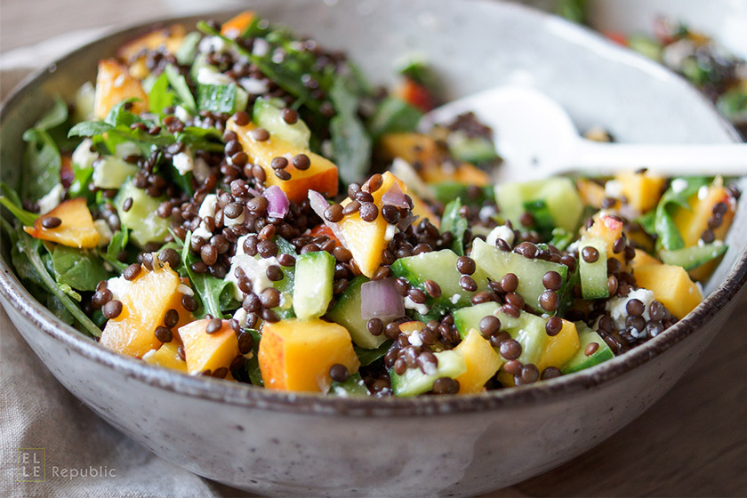 Nectarine Lentil Salad with Cucumber and Arugula