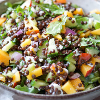 Nectarine Lentil Salad with Arugula