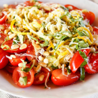 Zucchini Noodle Salad with Tomato, Basil and Pine Nuts