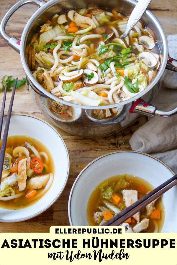 Asiatische Hühnersuppe Rezept mit Udon-Nudeln, Pilze