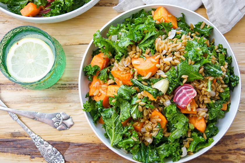 Roasted Beet and Sweet Potato Kale Salad