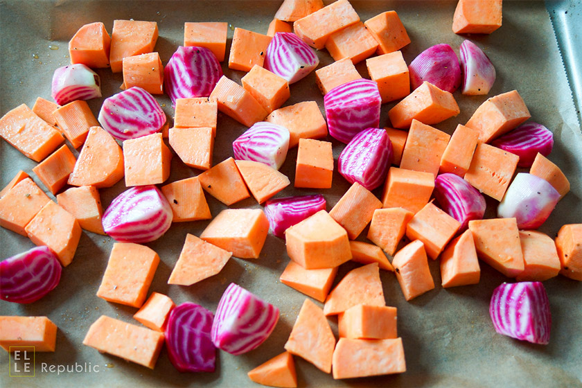 chioggia beets with their candy cane stripes and sweet potato