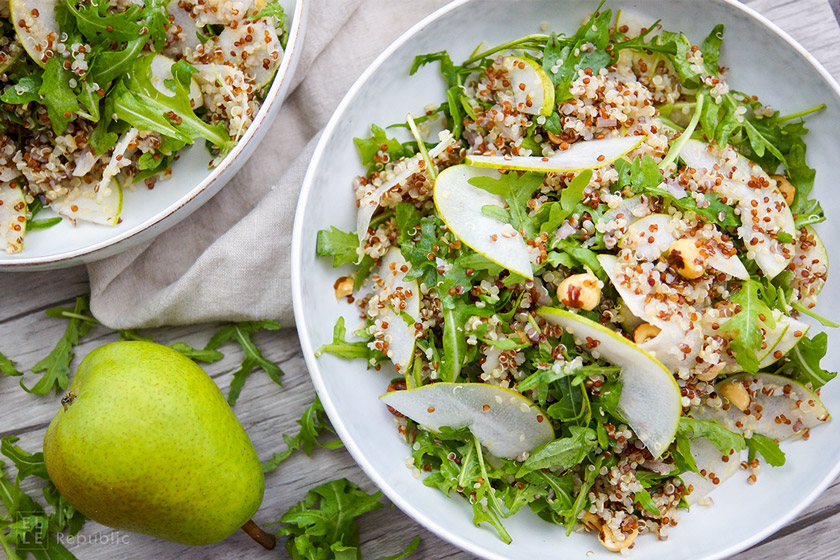 Pear Quinoa Salad with Arugula and Roasted Hazelnuts