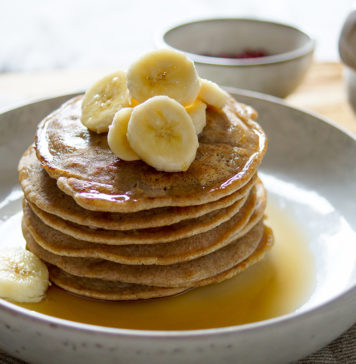 Gluten-free Buckwheat Pancakes with Bananas and Coconut
