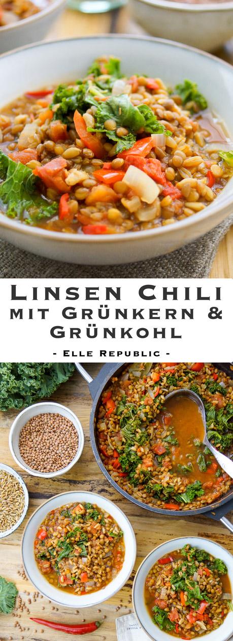 Rezept für Linsen Chili mit Grünkern und Grünkoh