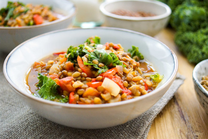 Grünkern (Spelt)-Lentil Chili with Kale Recipe