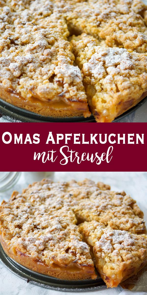 Omas Apfelkuchen mit Streusel (Apfelkrümel) Rezept