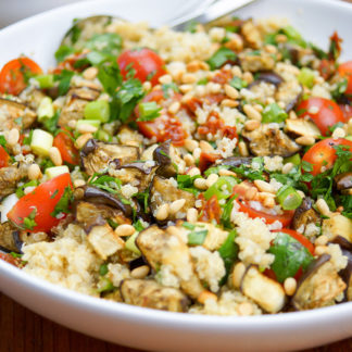 Roasted Eggplant and Cherry Tomato Quinoa Salad