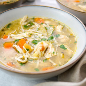 Simple Chicken Potato Soup with carrots and thyme
