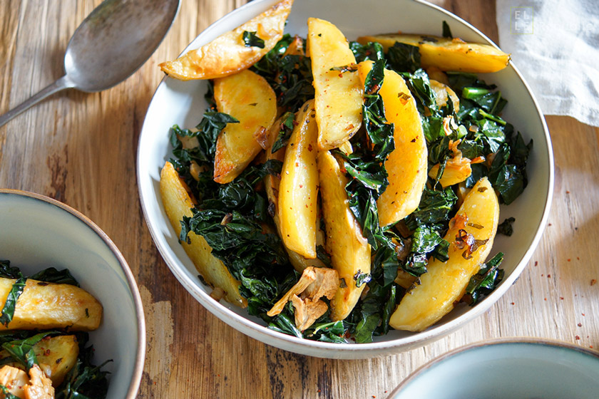 Sage Roasted Potato Wedges with Lacinato Kale
