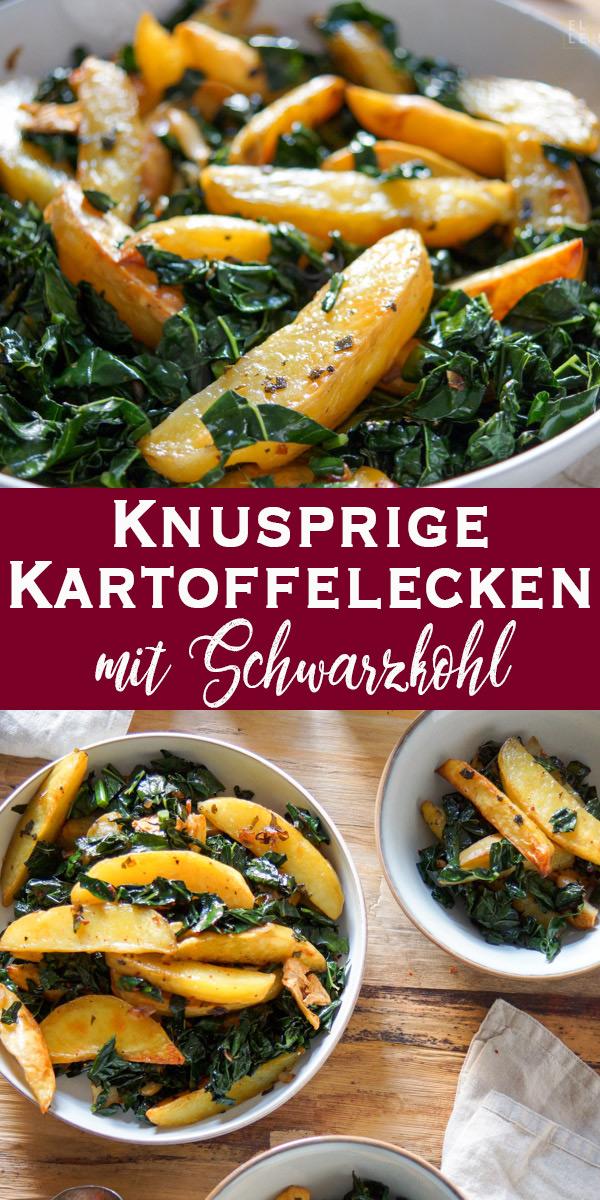 knusprige Kartoffelecken mit Schwarzkohl und Salbei, Vegan, Vegetarisch, Glutenfrei