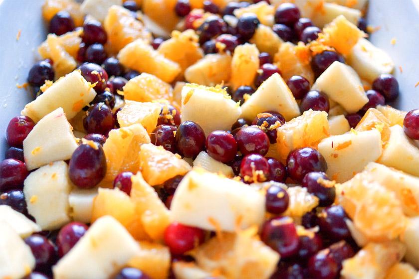 Cranberry Apfel Crisp (Crumble mit Haferflocken) mit Orange (Vegan + Glutenfrei)