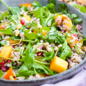 Barley Salad with Kaki, Pomegranate & Pine Nuts